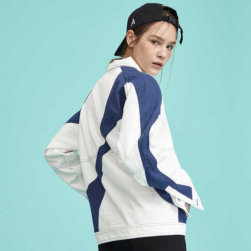 Осенние женские джинсовые пальто с длинными рукавами и отложным воротником, белая куртка Для женщин мода нерегулярные с принтом, повседнедневые, свободные пальто Z91