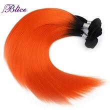 Blice Synthetische Steil Haar Weven Omber Gekleurde 18 24 inch Hittebestendige Hair Extensions Drie Bundels Deal Voor Vrouwen
