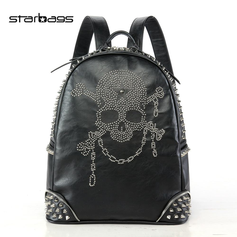 Starbags 2017 Punk Style Skull rivet Backpack Skeleton School Bags for Teenagers Girl Backpacks halloween party zombie skull skeleton hand bone claw hairpin punk hair clip for women girl hair accessories headwear 1 pcs