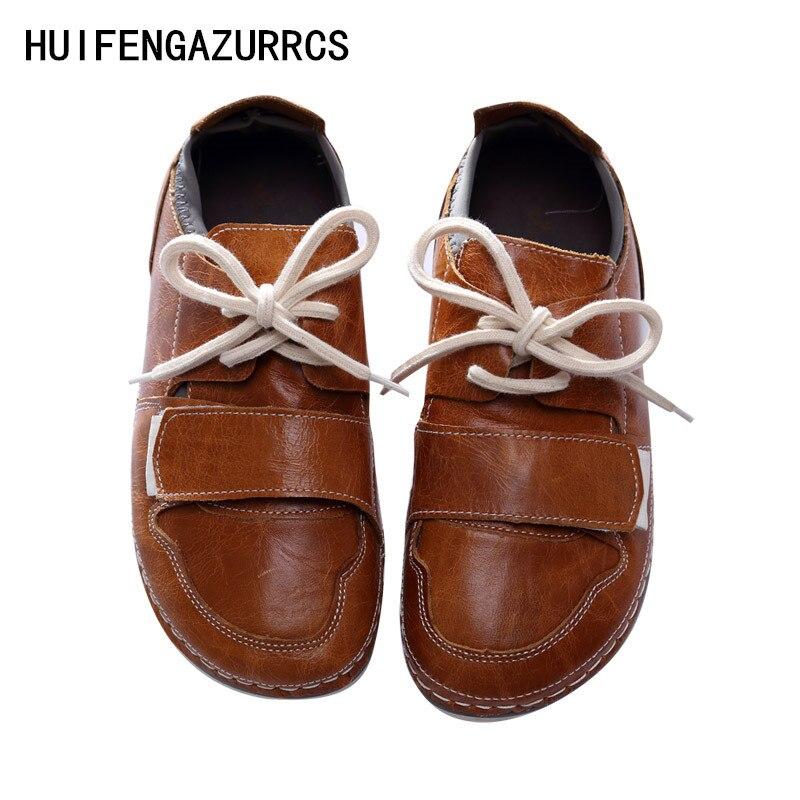 Huifengazurrcs 아트 모리 걸 신발, 새로운 뜨거운 판매 봄, 루프 진짜 가죽 부드러운 단독 신발, 여성 원래 수제 캐주얼 신발-에서여성용 플랫부터 신발 의  그룹 1