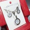 Shell Key Largo Collar y Colgantes de Sistemas de La Joyería de Acero Inoxidable 316L Del Perno Prisionero para Las Mujeres Oro Plateado Bijoux