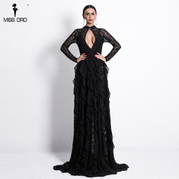 Sexy Long Sleeve Hollow Out Lace Dresses Female Elegant See Through Party Bodycon Dress