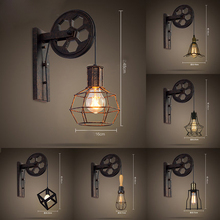 View Garden loft retro wall lamp industrial wind lifting pulley personalized restaurant corridor