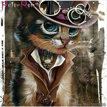 Diamond Painting Cartoon kitten Full Accessories Embroidery Cat Cowboy Mosaic Picture Of Rhinestone Decoration
