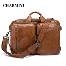 CHARMIYI 100% Genuine Leather Men Messenger Bags Multifunction Men Crossbody Bag Laptop Briefcase Business Bag Tote Travel Bags