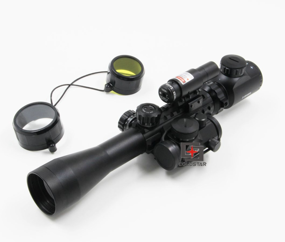1set New rifle air guns 3-9x40EG Rifle Scope w/ Laser & 1x24 Illuminated T-1 Red Green Dot Scope mira telescopica 3 10x42 red laser m9b tactical rifle scope red green mil dot reticle with side mounted red laser guaranteed 100%