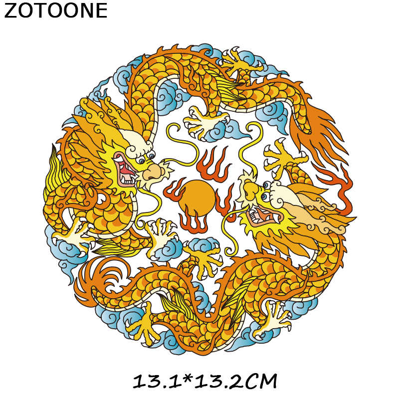 ZOTOONE Dragon Totem Diy Patch on Clothes Iron on Transfers for Clothing T-shirt Heat Transfer Thermo Stickers Heart Applique E