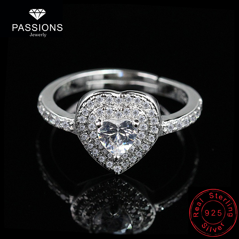 New Fashion AAA Cubic Zirconia Romantic Heart Party Rings 925 Sterling Silver Adjustable Ring For Women Jewelry Dating Gift Ring