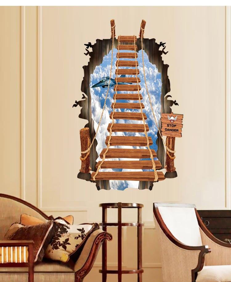 Creatieve Persoonlijkheid 3D Trap Muurstickers Ladder Sky ...