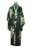 Free Shipping New Black Japanese Women S Silk Satin Kimono Evening Dress Yukata Flowers One Size