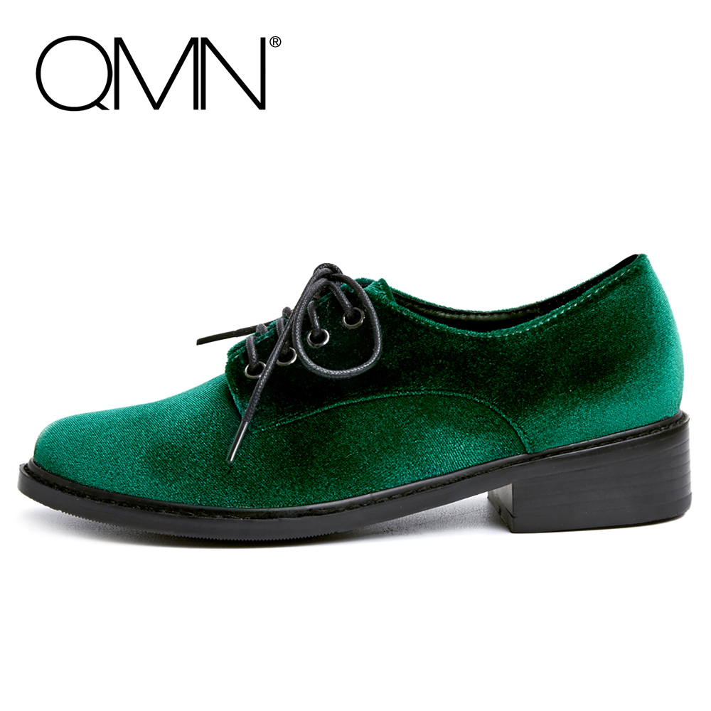 QMN women velvet brogue shoes Women Round Toe Oxfords Lace Up Casual Shoes Woman Flats 34-40 qmn women crystal trimmed brushed embossed leather brogue shoes women square toe oxfords shoes woman genuine leather flats 34 43