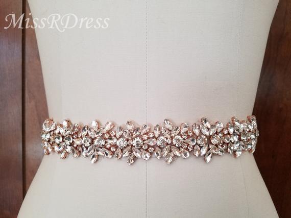 MissRDress Diamond Wedding Belts Rose Gold Crystal Bridal Belt Rhinestones Flower Bridal Sash For Wedding Accessories Belt JK817