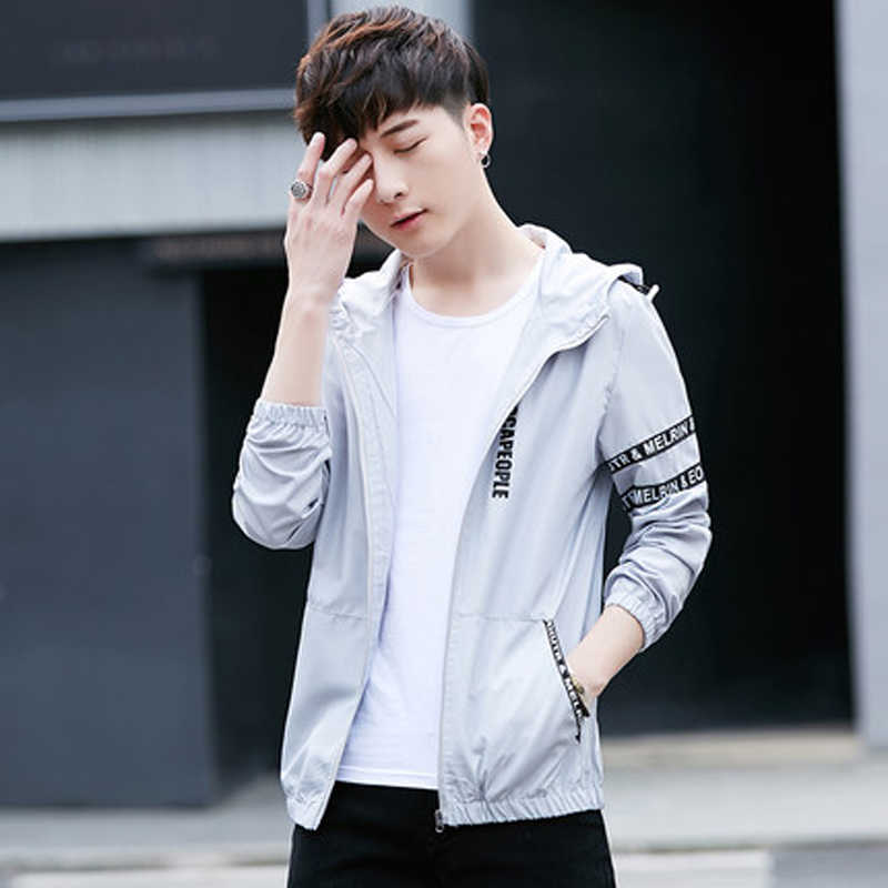 Лидер продаж тонкая ветровка для мужчин бренд Весна Slim Fit молодых с капюшоном бомбер куртки плюс размеры S-4XL jaqueta masculina