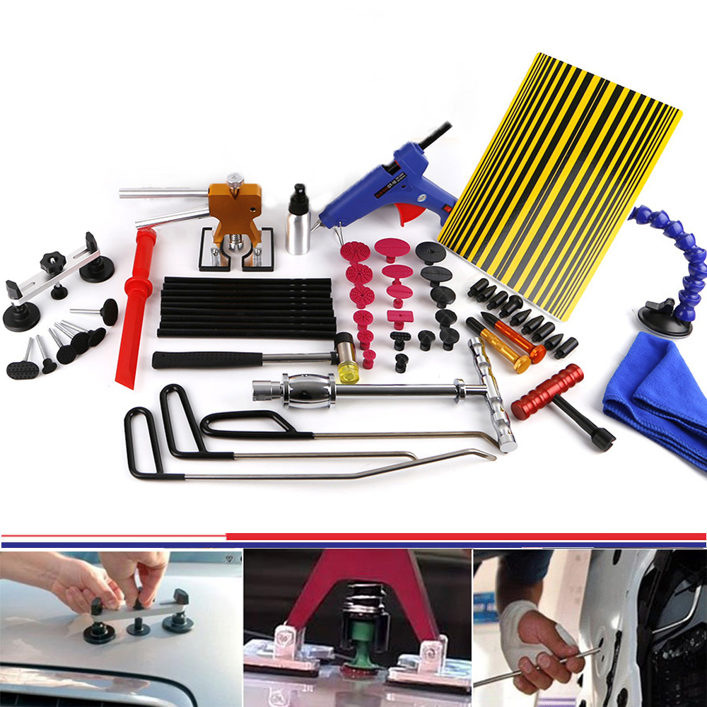 WHDZ PDR Paintless Dent Repair Tools Pulling Bridge Dent Puller Glue Gun Slide Hammer Dent Removal Hand Tool Set PDR Tool kit whdz pdr auto body paintless dent removal repair tools kits bridge puller 2in1slide hammer glue puller automotive door ding dent
