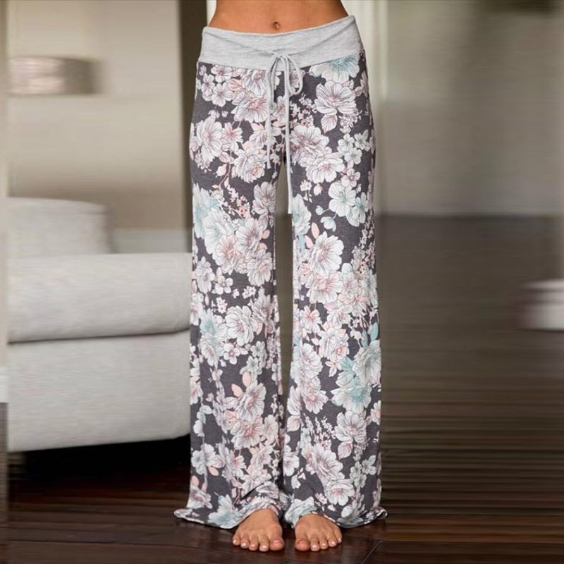 Christmas Sleep Bottoms Women Multi Colors Floral Pants Trousers Drawstring Wide Legs Loose Knitted Pajama Pants Pijamas B86792