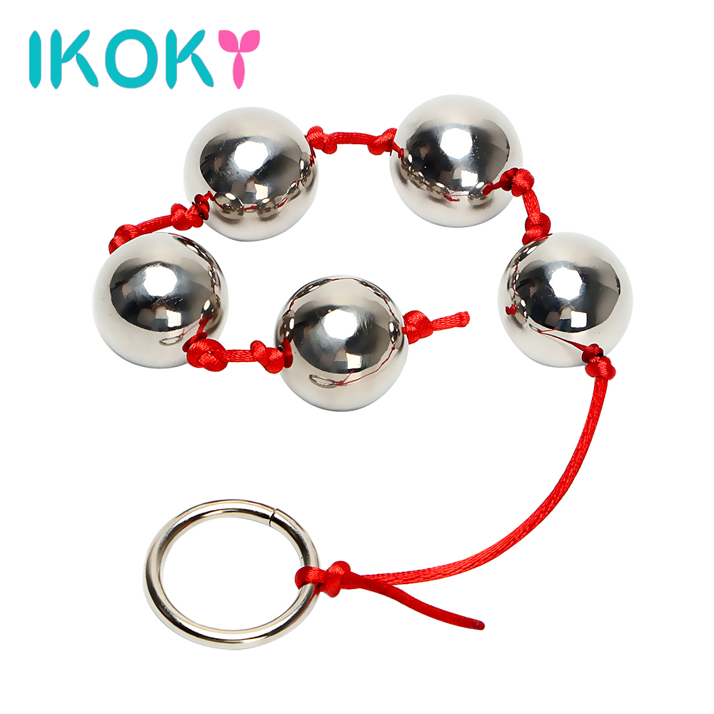 IKOKY 2.5cm Big Balls Butt Vaginal Plug Stainless Steel Five Metal Anal Balls Adult Sex Toys For Woman Handheld Ring Anal Bead