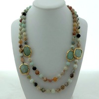 42'' 8mm Mixed Color Gems Golden Plated Stone Nugget Necklace
