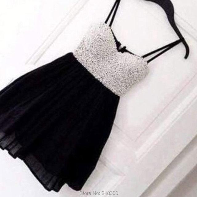 Silver Sequin Black Short Prom Dresses Spaghetti Straps Red ...