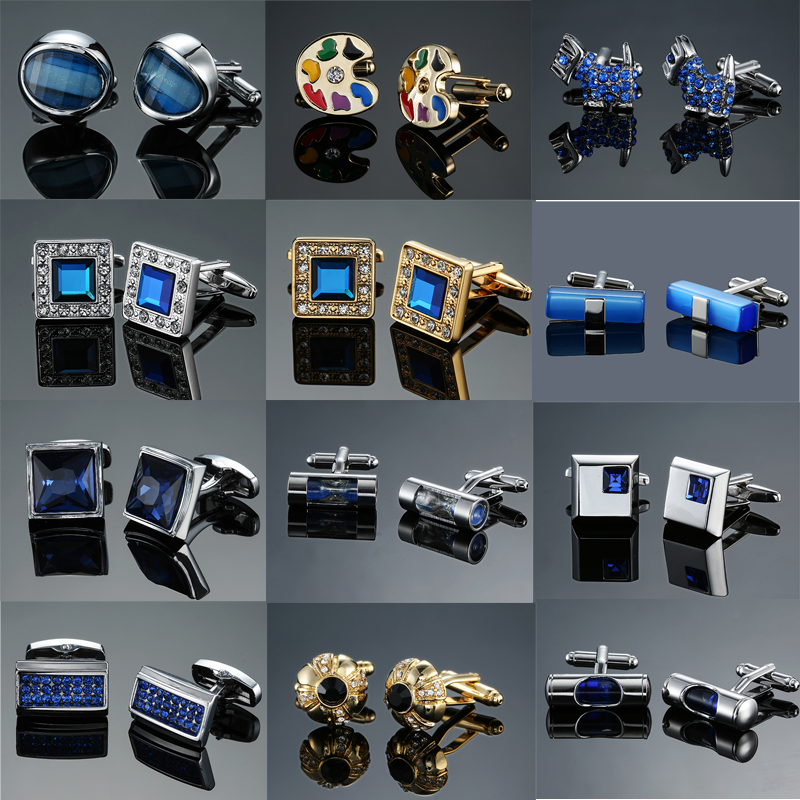 DY New High-end Men's Jewelry Luxury Design Level Hourglass Blue Crystal Cufflinks Men's French Shirt Cufflinks Free Shipping