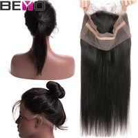 Beyo Hair 360 Lace Frontal Closure With Baby Hair Brazilian Straight Hair Pre Plucked Frontal Non Remy Human Hair Lace Closure