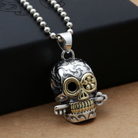 in Japan and South Korea S925 sterling silver jewelry inlaid copper windmill Skull Punk male Ladies Fashion Pendant