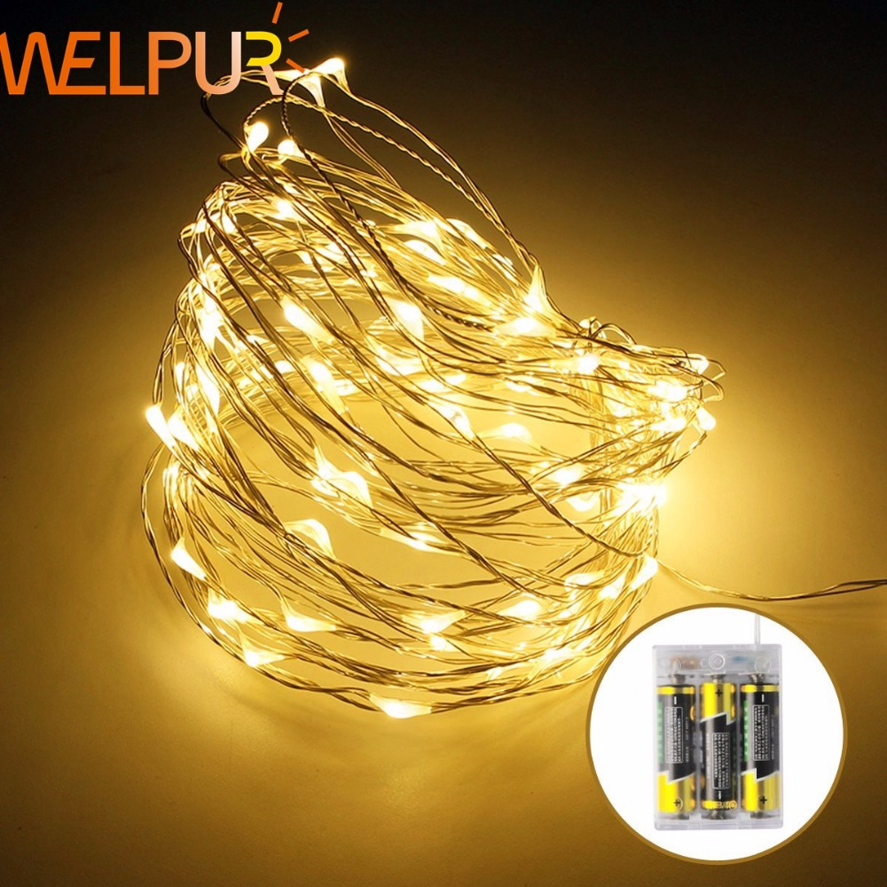 Led Fairy Holiday Battery Powered LED String Light 2M 5M 10M Copper Wire For DIY Christmas Tree  Wedding Outdoor Decoration
