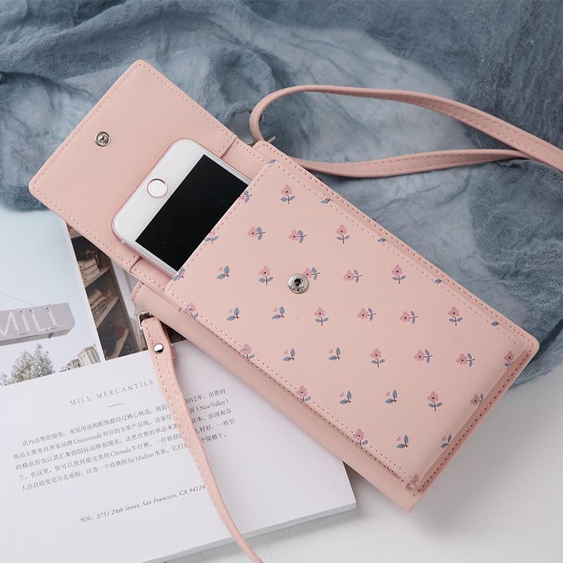 Image 3 - 2019 New Women Casual Wallet Brand Cell Phone Wallet Big Card  Holders Wallet Handbag Purse Clutch Messenger Shoulder Straps  BagWallets