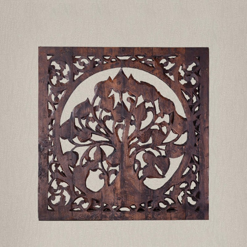 Exotic Tree of Life Carved Wooden Canvas Painting - Canvas Paintings Under $5,000