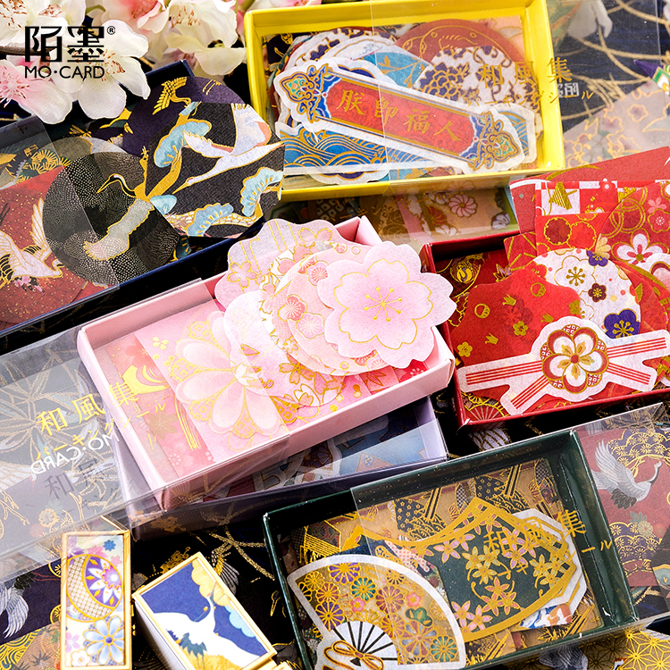 45pcs/box Japanese Style Gold Foil Stickers Bronzed Crane Wave Cherry Blossom Ancient Zen Flowers Decoration Planner Stickers