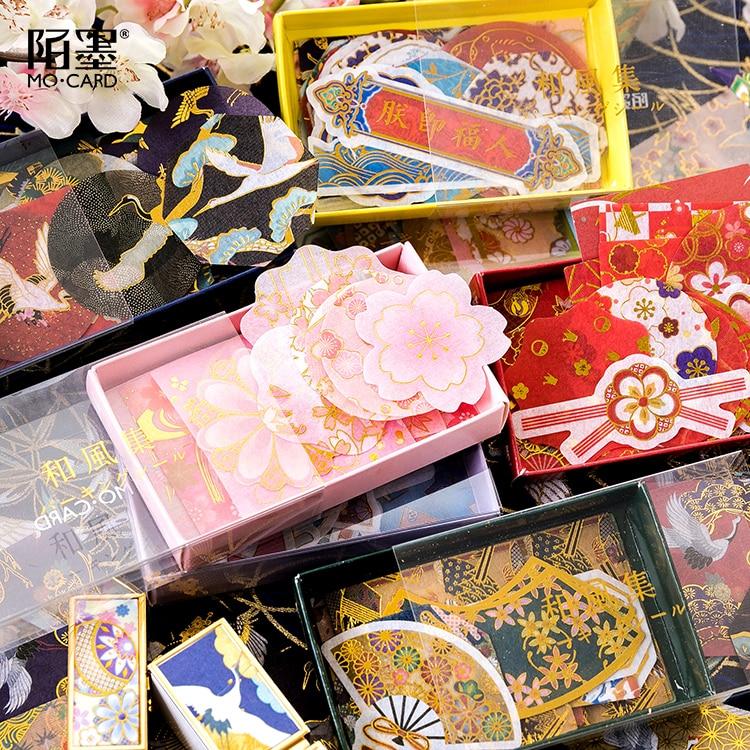 45pcs/box Japanese Style Gold Foil Stickers Bronzed Crane Wave Cherry Blossom Ancient Zen Flowers Decoration Planner Stickers
