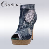 Odetina 2017 Brand Peep Toe Ankle Boots For Women Denim Booties Stiletto Super High Heels Platform