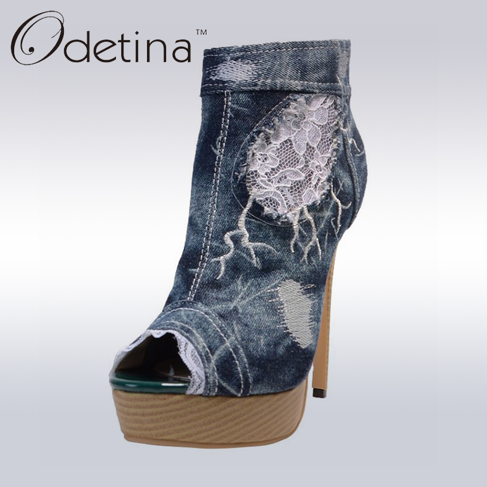 Odetina 2017 Brand Peep Toe Ankle Boots For Women Denim Booties Stiletto Super High Heels Platform Summer Boots With Side Zipper denim zipper hollow worn stiletto womens sandals