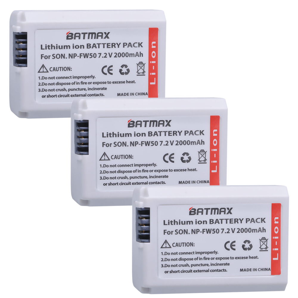 Batmax 3Pcs 7.2V 2000mAh NP-FW50 NP FW50 Camera Battery for Sony Alpha 7 a7 7R a7R 7S a7S a3000 a5000 a6000 NEX-5N 5C 2x 1500mah np fw50 np fw50 digital camera battery charger for sony alpha 7 a7 7r a7r 7s a7s a3000 a5000 a6000 nex 5n 5c a55