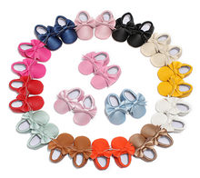 2019 New Butterfly-knot Baby Girl Shoes Quality Solid Color PU Leather Baby Moccasins Hot Style(China)