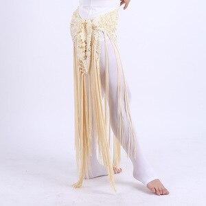 Image 5 - 2019 여성 섹시 밸리 댄스 의상 부족의 술 엉덩이 스카프 꽃 숙녀 벨리 댄스 랩 벨트 스커트 프린지 6 색