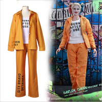 Movie Suicide Squad Harley Quinn Cosplay Costumes Joker Coat Tops Pants Outfit Halloween Party Prison Uniform