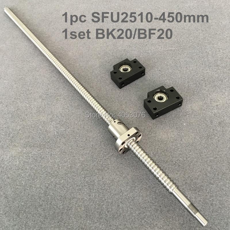 Ball screw SFU / RM 2510- 450mm ballscrew with end machined + 2510 Ballnut + BK/BF20 End support for CNC ball screw sfu rm 2510 1500mm ballscrew with end machined 2510 ballnut bk bf20 end support for cnc
