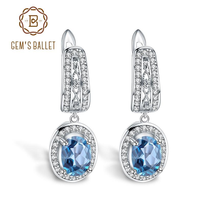 GEM S BALLET 3 15Ct Natural London Blue Topaz Gemstone Drop Earrings 925 Sterling Silver Classic
