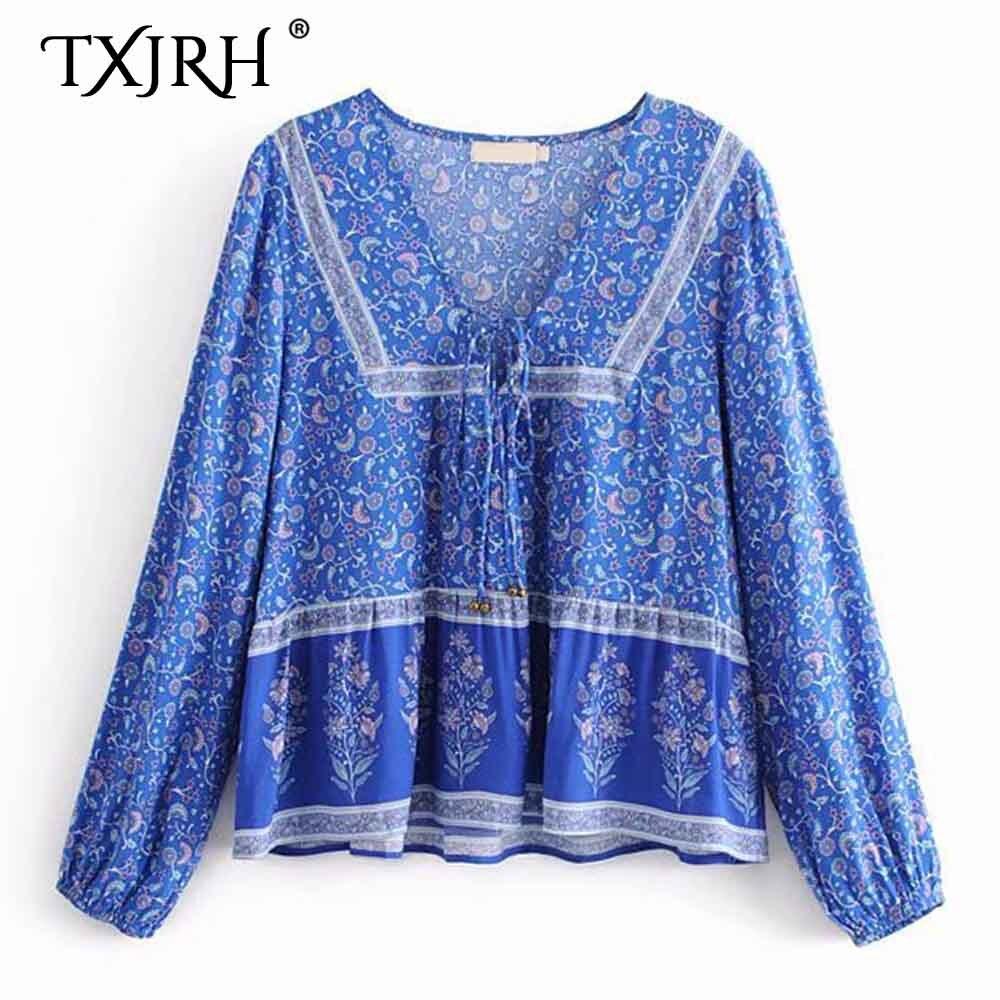 Women Ethnic Retro Embroidery Flower Shirt Long Sleeve Slim Blouse Top Plus Size