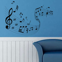 Personality creative design music staff wall stickers bedroom room decoration vinyl YY26