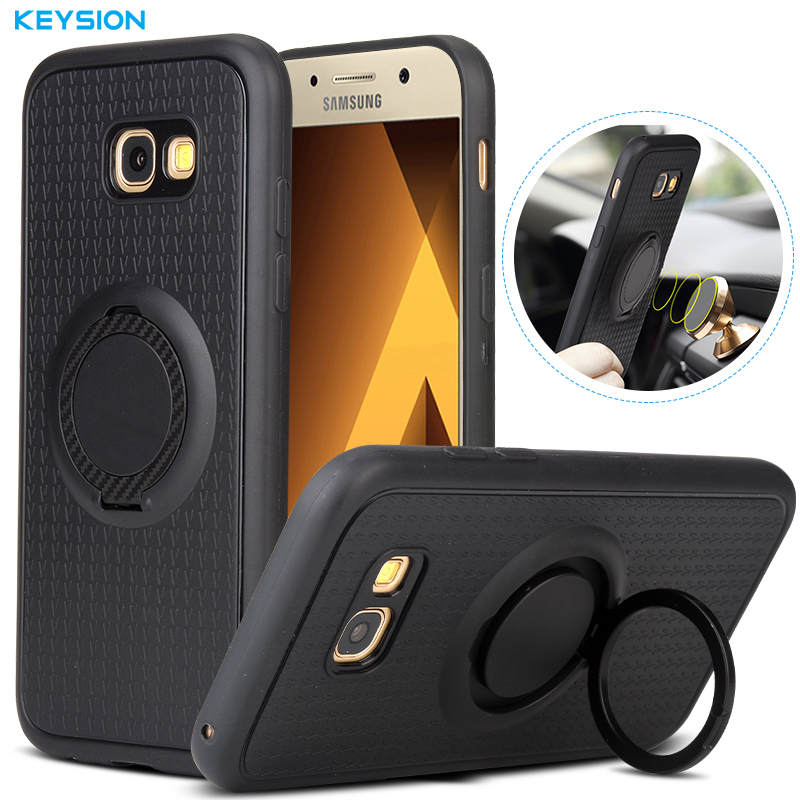KEYSION <font><b>Case</b></font> for <font><b>Samsung</b></font> <font><b>Galaxy</b></font> A5 2017 A9 A8 A7 2018 A10 A20 A30 A50 A60 <font><b>A70</b></font> A520 Car Holder Magnetic <font><b>Ring</b></font> Silicone Back Cover for <font><b>Samsung</b></font> Note 10 10 Plus 9 S10 S9 S8 image