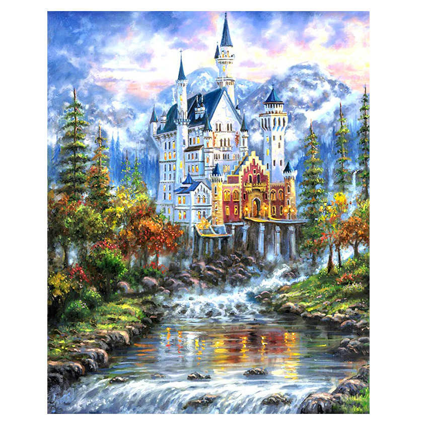 RIHE Dreamy Castle Paint By Numbers Canvas For Adults Kids Beginner Kits Abstract Scenery DIY Painting Number With Brushes