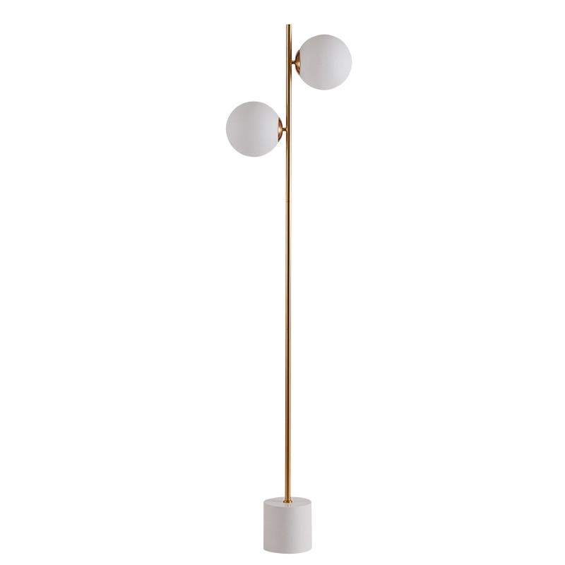 Современные торшер 2 головы Стекло Тень гостиная торшер спальня этаж свет для домашнего освещения E27 6 Вт лампы торшер