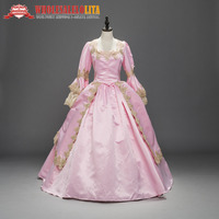 PINK Marie Antoinette Renaissance Princess Ball Gown Masquerade Dress Theater Dresses