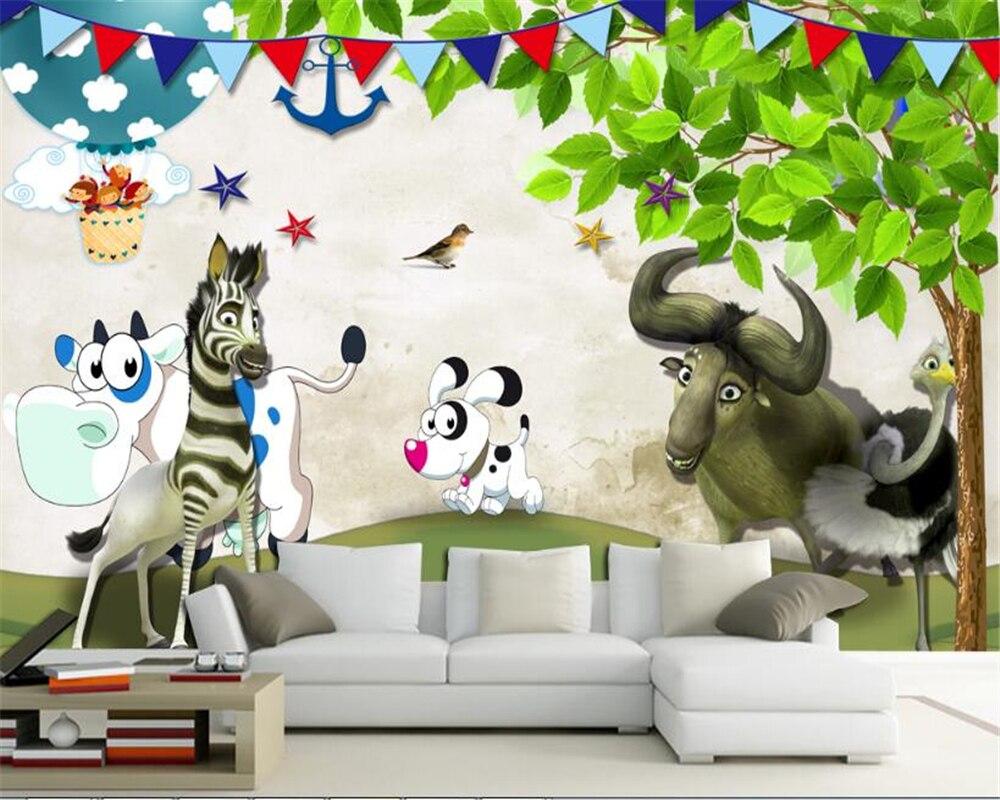 Dieren Behang Kinderkamer : Beibehang senior mode behang schattige kleine dieren gelukkig