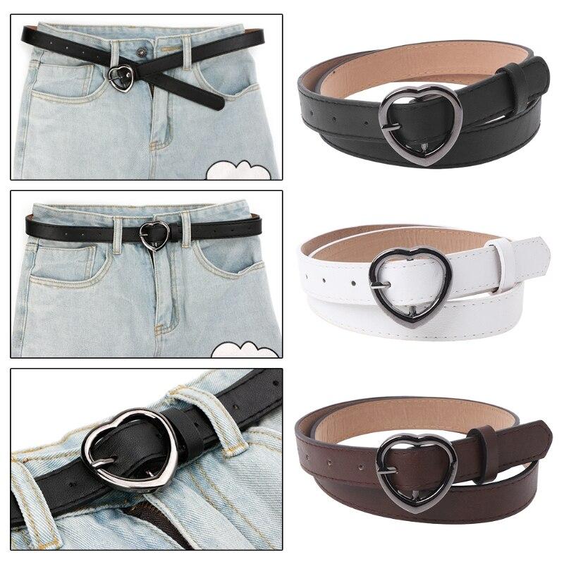 Women Heart Buckle Belts Dress Jeans Waistband Hollow Heart Thin Strap Hot Sale