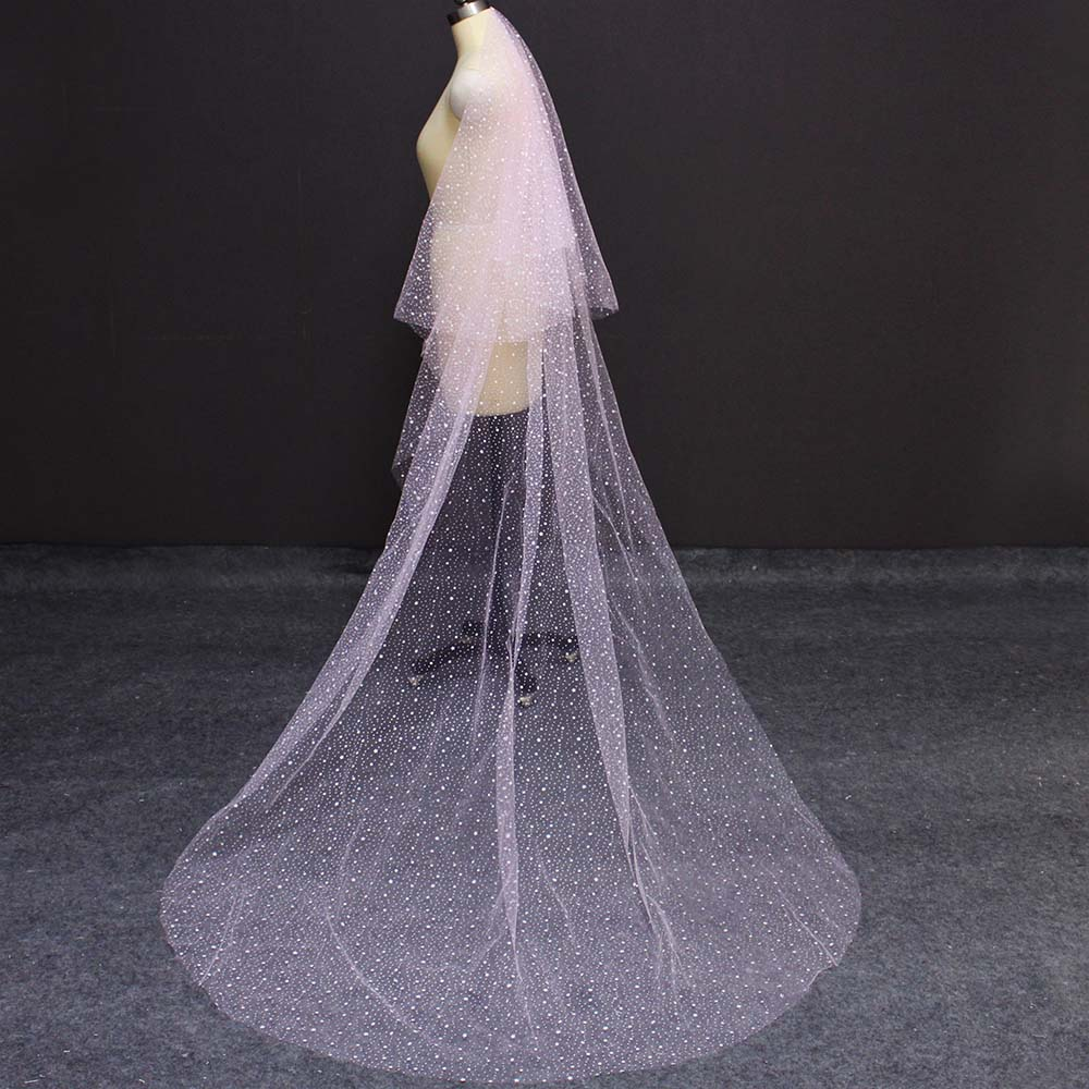 Wedding-Veils Bridal Veil Pink Long Cover Comb Face 2-Layers Real With 2-layers/Cover/Face/Beautiful