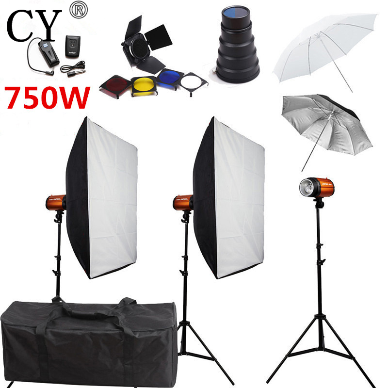 CY Photography Studio Soft Box Flash Light Kits 750W Storbe Flash Softbox Stand Set Photo Studio Accessories Godox Smart 250SDI