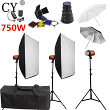 CY Photography Studio Soft Box Flash Light Kits 750W Storbe Flash Softbox Stand Set Photo Studio Accessories Godox Smart 250SDI