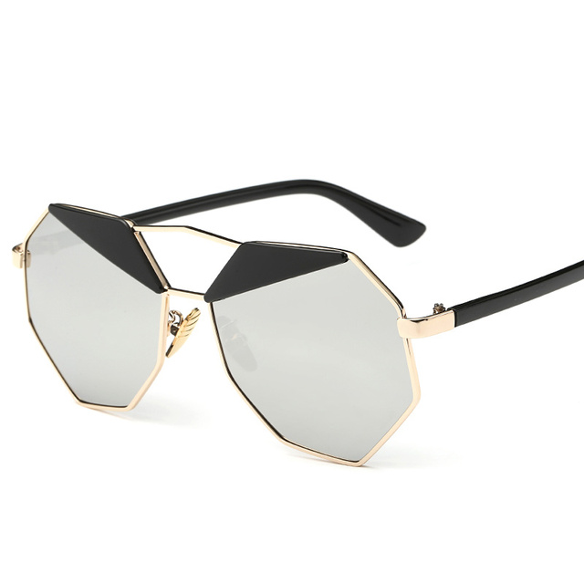 Trend Women Sunglasses Big frame polygon Clear lens Sunglasses Brand Mirror Designer Men vintage Sun Glasses Hexagon Metal Frame